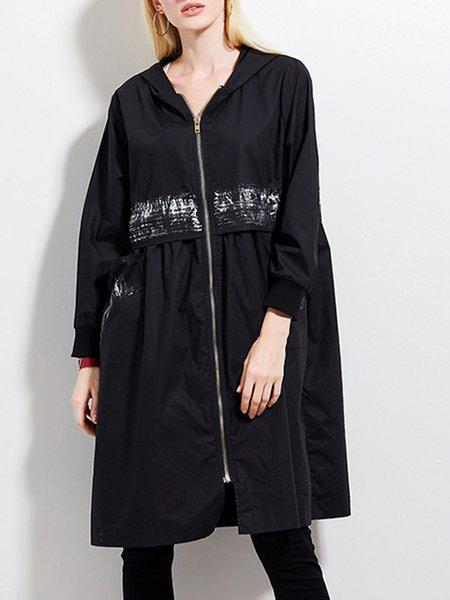 Black Long Sleeve Shift Hoodie Coat