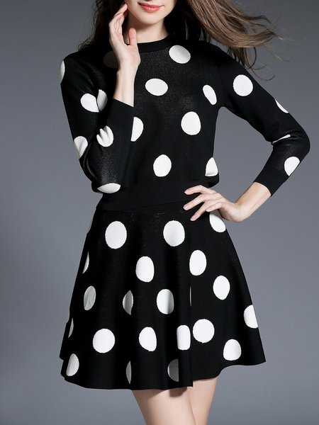 Crew Neck Polka Dots Long Sleeve Two Piece Top With Skirt