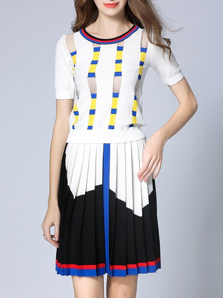 Casual Knitted Crew Neck Top With Skirt