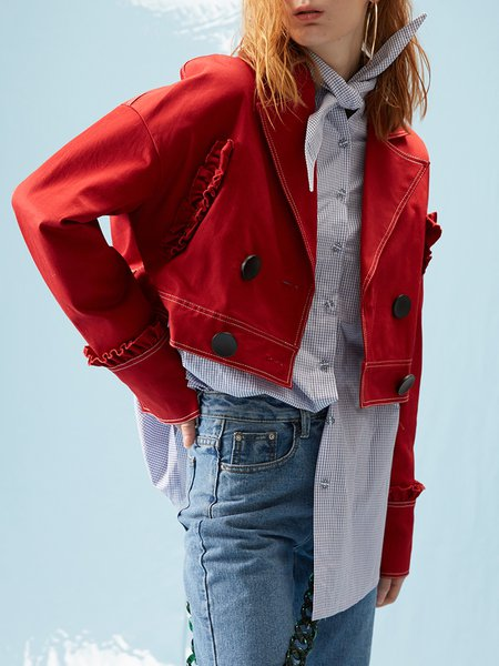 Red Casual Lapel Cotton Cropped Jacket