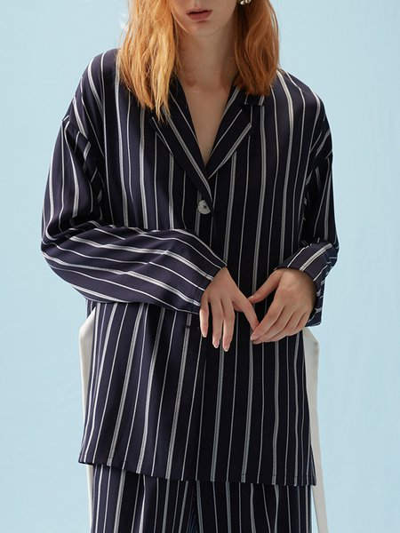 Navy Blue Lapel Casual Stripes Printed Blouse