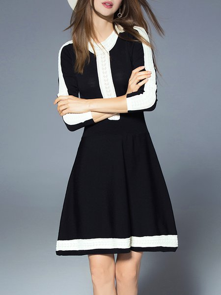 Black Casual A-line Lycra Sweater Dress
