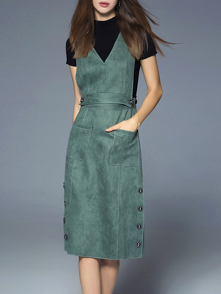 Plain Sleeveless Casual Pockets V Neck Midi Dress