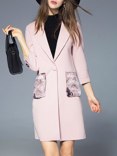Cotton-blend Casual Pockets 3/4 Sleeve Coat