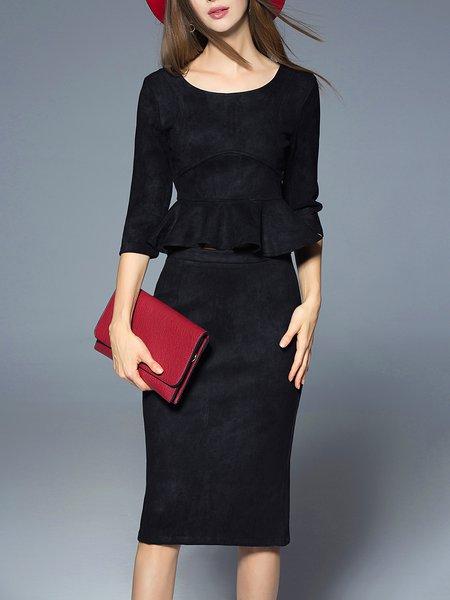 Black Casual Plain Polyester Ruffled Midi Dress