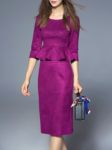 Purple 3/4 Sleeve Ruffled Solid Two Piece Midi Dress
