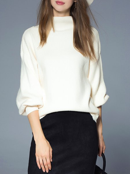 Apricot H-line Turtleneck Balloon Sleeve Sweater