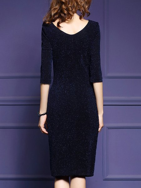 Navy Blue Sheath Crew Neck Polyester Elegant Midi Dress - StyleWe.com