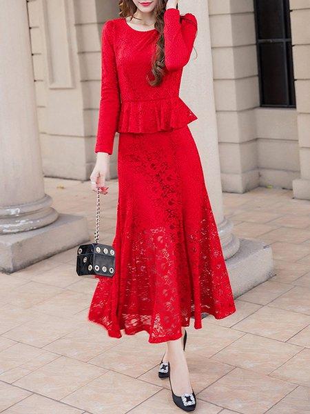 Elegant Long Sleeve Polyester Guipure Lace Maxi Dress