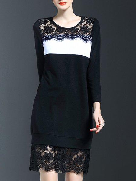 Long Sleeve Cowl Neck Wool Blend Casual Midi Dress