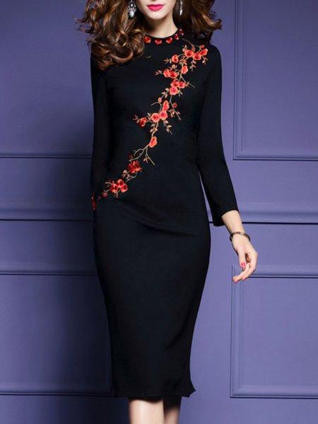 Elegant Long Sleeve  Floral-embroidered Sheath Midi Dress