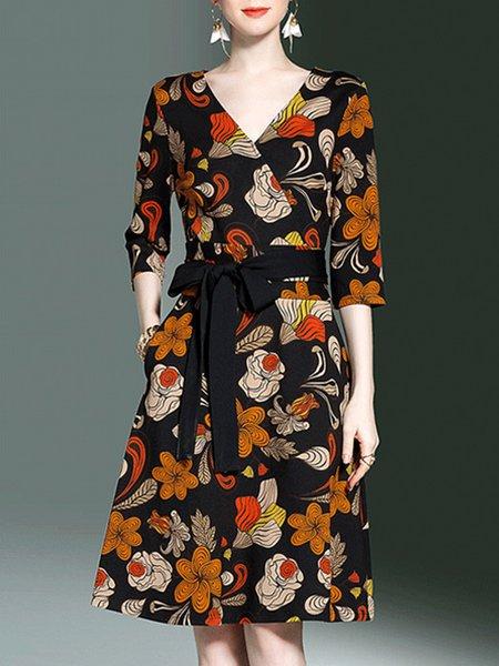 Elegant A-line Floral 3/4 Sleeve  Midi Dress