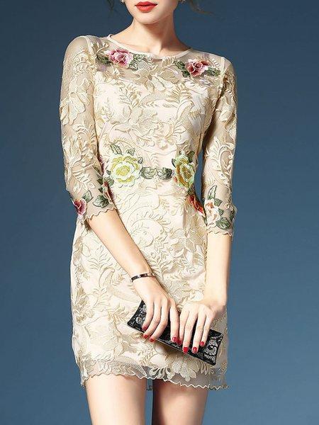 Apricot Elegant  Midi Dress