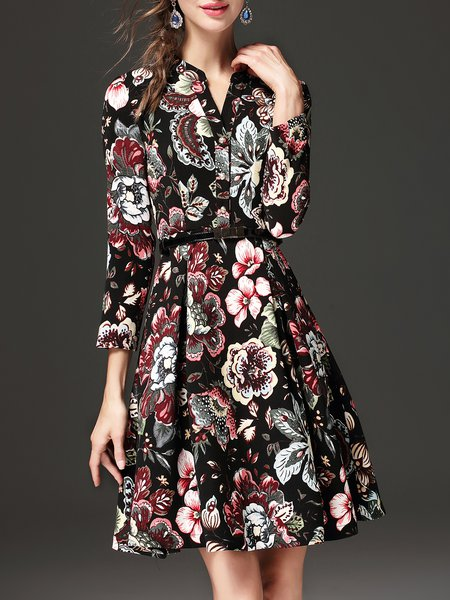 Elegant Floral Long Sleeve Stand Collar  Midi Dress