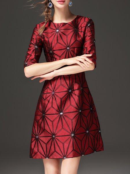 Geometric Half Sleeve Elegant Midi Dress