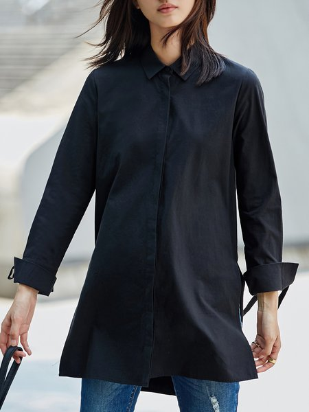 Simple Long Sleeve Solid Cotton Blouse