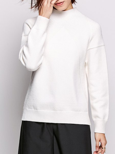 Long Sleeve Knitted Slit High Low Sweater