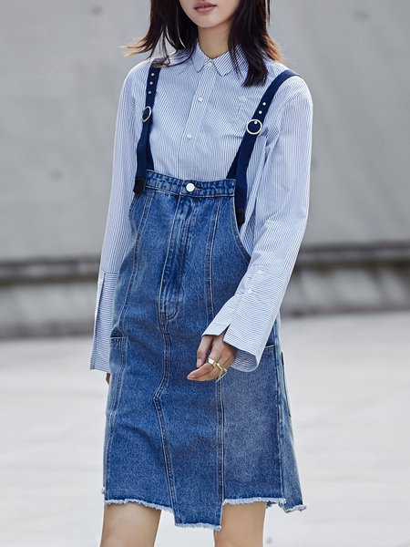 Blue Denim A-line Sleeveless Midi Dress
