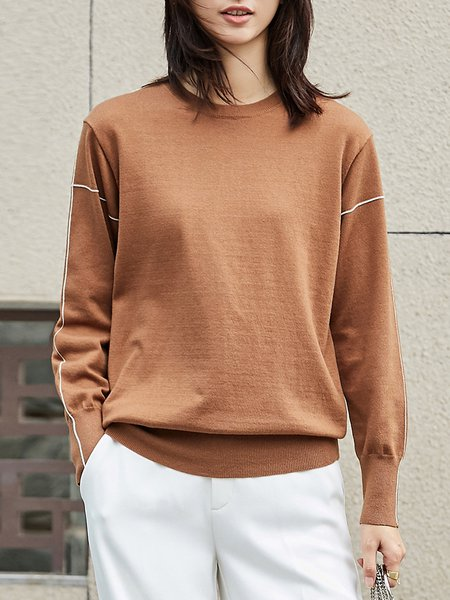 Coffee Knitted Casual Crew Neck Sweater