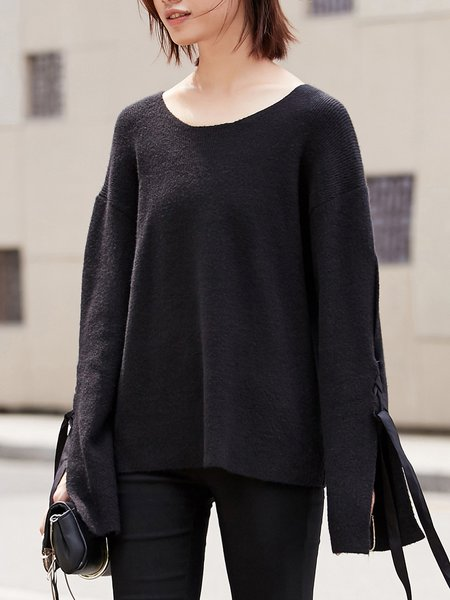 Slit Solid Casual Long Sleeve Knitted Sweater
