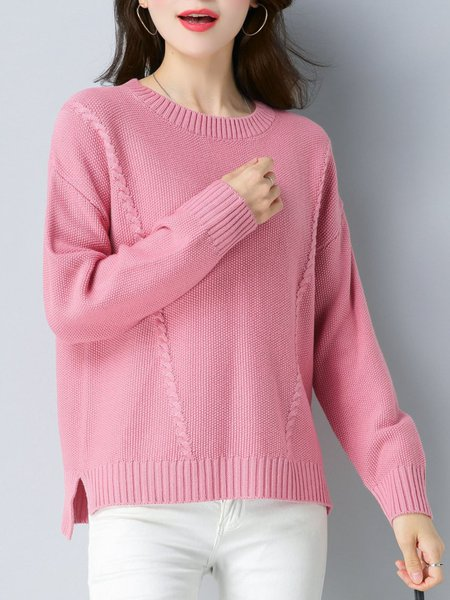 Long Sleeve Casual Solid High Low Sweater