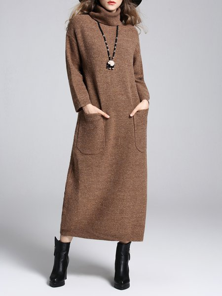 Pockets Casual H-line Turtle Neck Long Sleeve Sweater Dress