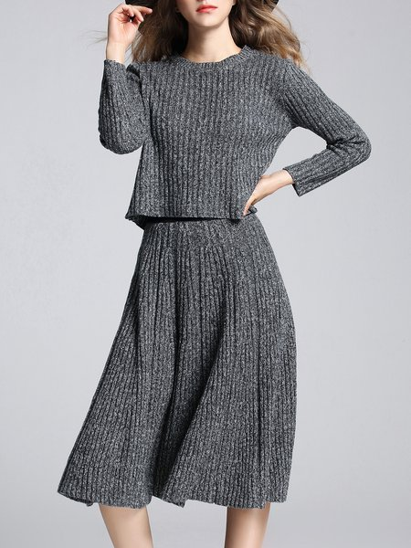 Deep Gray Casual Crew Neck A-line Two Piece Top With Skirt