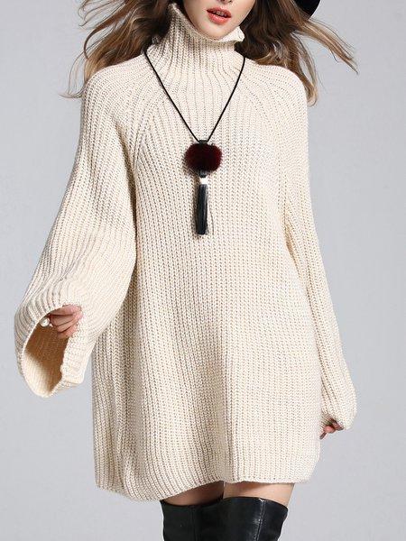 Beige Turtle Neck Long Sleeve Sweater