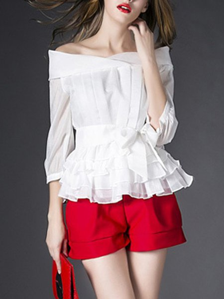 White Polyester Girly Two Piece Ruffled Top With Pants