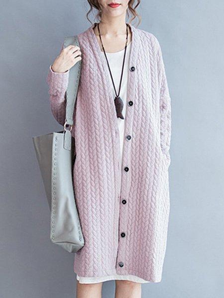 Plus Size Pink Cotton-blend Buttoned Long Sleeve Coat