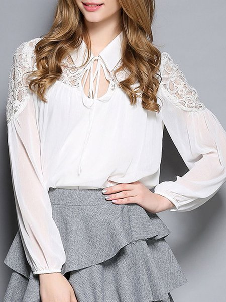 White Shirt Collar Guipure Lace Long Sleeve Blouse