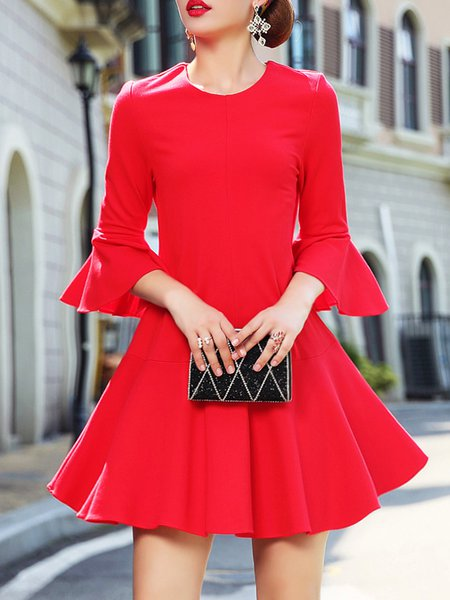 Red Bell Sleeve  Midi Dress