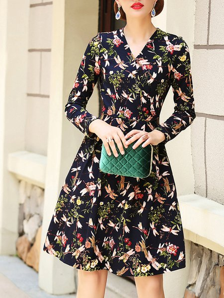 A-line Surplice Neck  Long Sleeve Midi Dress