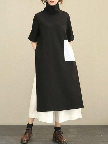 Black Turtle Neck Slit Casual LINEN CLOTH