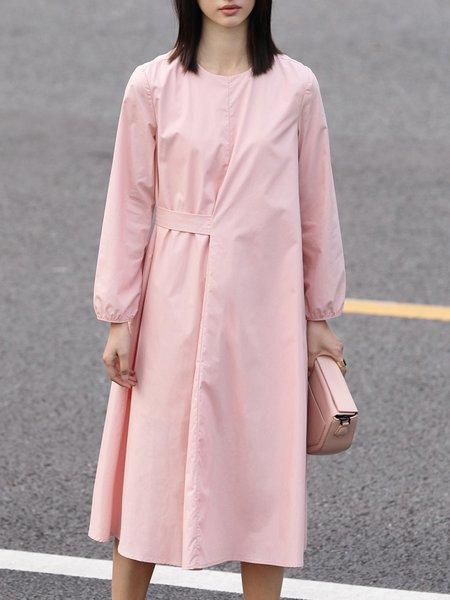 Crew Neck Cotton Long Sleeve Folds Midi Dress