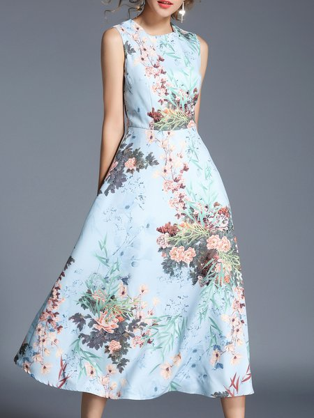 Printed Sleeveless A-line Floral Elegant Midi Dress