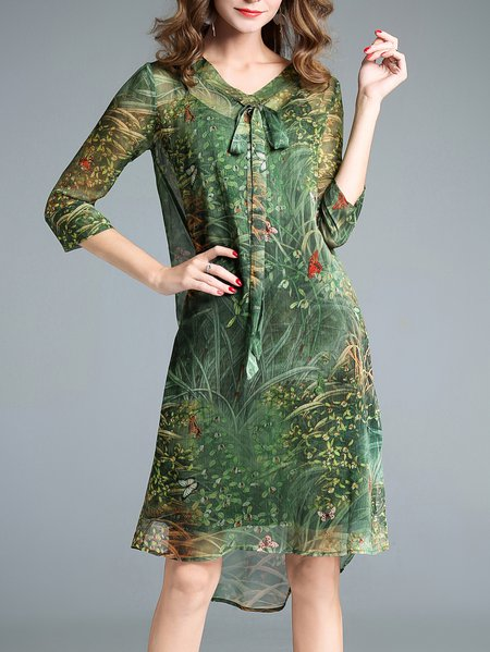 Green Printed Elegant H-line Midi Dress with Cami