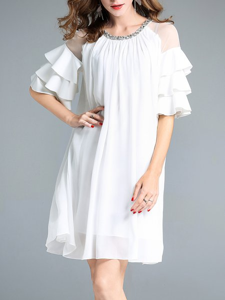 White Solid Half Sleeve Ruffled  Mini Dress