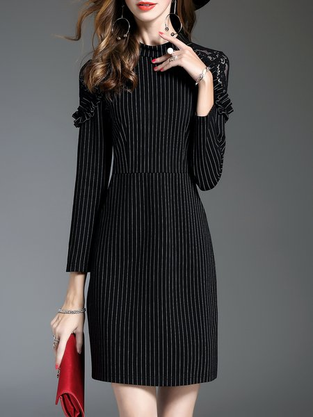 A-line Elegant Long Sleeve Stripes Midi Dress
