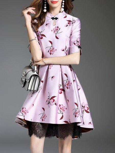 Purple  Stand Collar Floral Half Sleeve Midi Dress