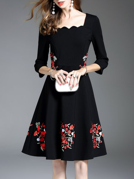 Black Floral-embroidered Elegant Midi Dress