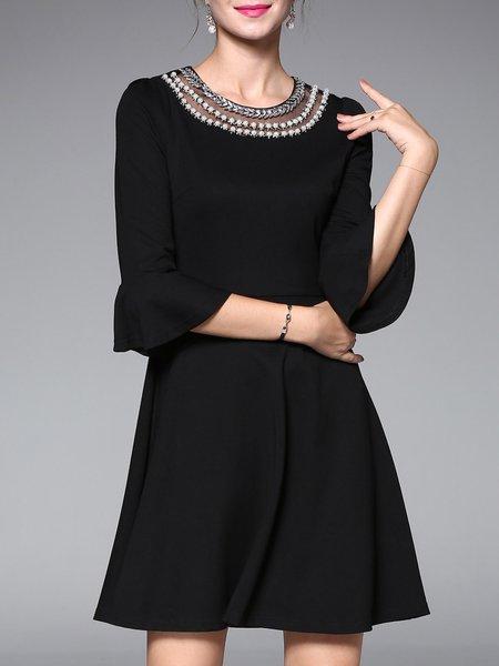 Black Bell Sleeve A-line Crew Neck Midi Dress