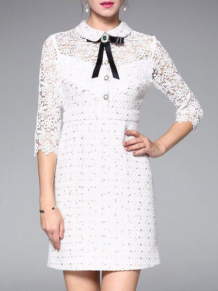 White Sheath Half Sleeve Midi Dress