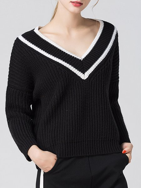 V Neck Casual Long Sleeve Knitted Sweater
