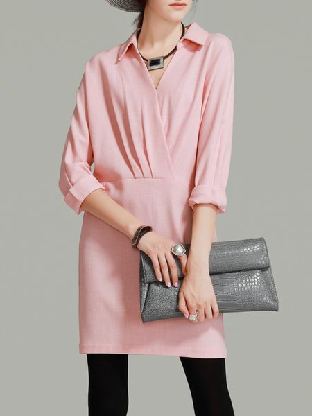 Pink V Neck Folds Long Sleeve Knitted Mini Dress