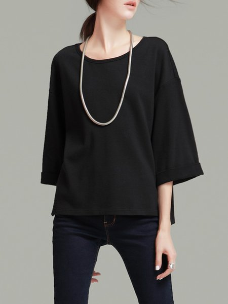 Black Knitted Slit 3/4 Sleeve Simple T-Shirt