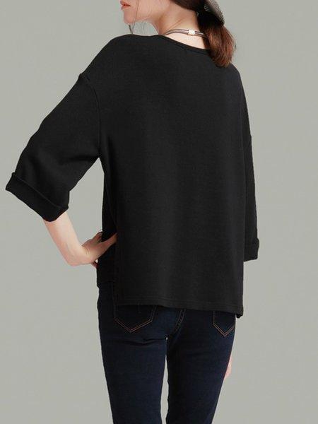 Black Knitted Slit 3/4 Sleeve Simple T-Shirt - StyleWe.com