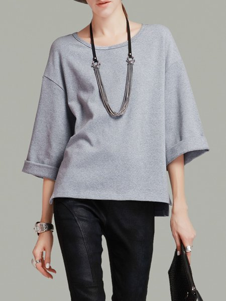 Gray 3/4 Sleeve Slit Knitted Plain T-Shirt
