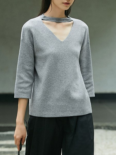 Cutout Simple 3/4 Sleeve Solid Top