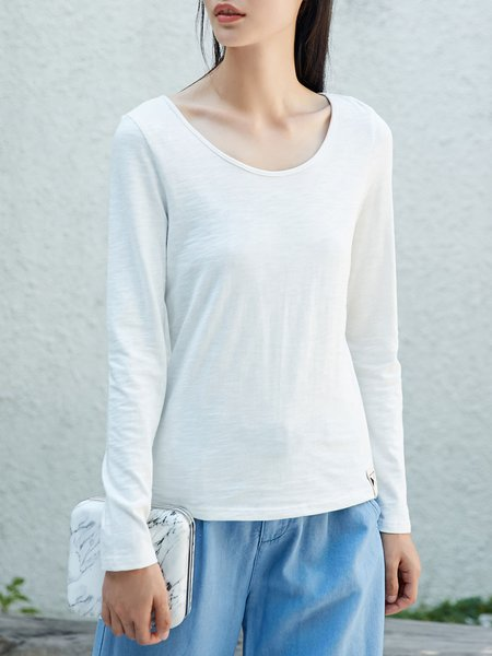 Long Sleeve Simple Crew Neck Cotton Top